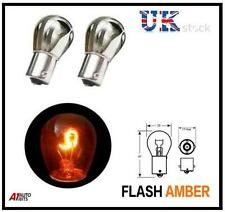 CHROME AMBER FRONT REAR INDICATOR BULBS OPPOSITE PINS SIGNAL INDICATE BA15S 382