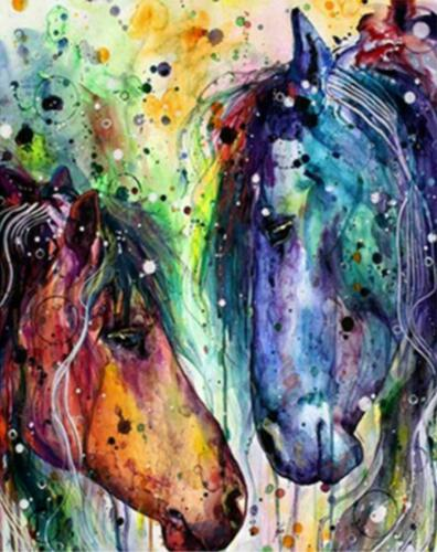 Colorful Horses Couple Horse Love Painting Artwork Paint By Numbers Kit DIY