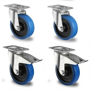 satz blue wheels 100 mm lenkrollen bremse transportrollen. Black Bedroom Furniture Sets. Home Design Ideas