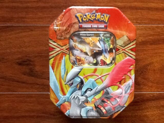 POKEMON  COLLECTIBLE WHITE  KYURM TIN EX CARD + 4 BOOSTER PACKS  FACTORY SEALED