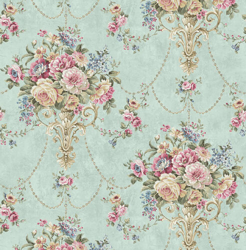 Grün Braun Designtapete Aqua floral Glanz Tapete Pergament Camel Blau