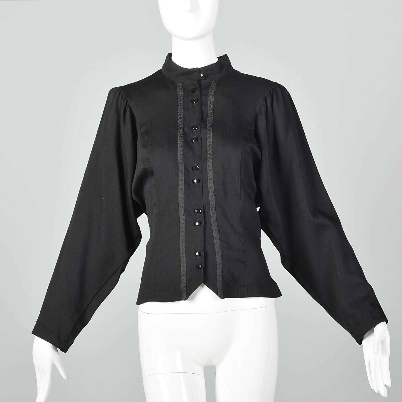 Medium schwarz Blouse Wool VTG 1980s Long Sleeve Floral Trim Gothic Shirt