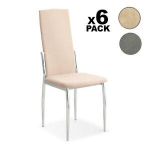 Detalles de Pack 6 sillas de comedor modernas silla moderna diseño en Beige o Gris, Sakura