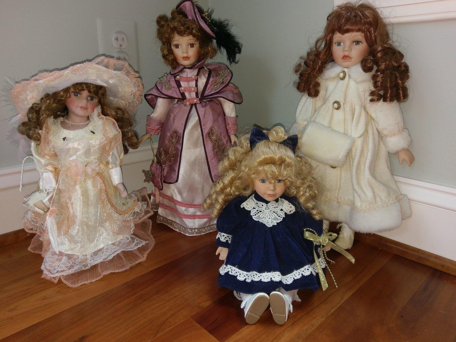 Lot 4 Porcelain Collector's Doll Paul Sebastian Dan Dee Windup Music Box Clothes