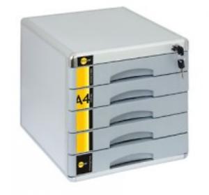 Schubladenbox ABSCHLIEßBAR m Schloss Ablagebox mit 5 Schubladen Bürobox  YLSM05