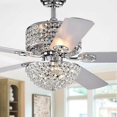 Laure Chrome 5 Blade 52 Quot Lighted Ceiling Fan W Crystal Shaded Chandelier Rc Ebay