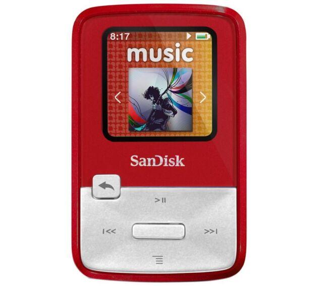 4GB SanDisk Sansa Clip Zip MP3 Player FM Radio Voice Recorder - RED - 4 GB
