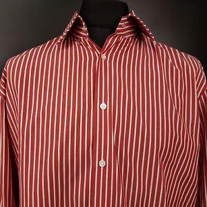 HUGO-BOSS-Mens-Shirt-SHORTER-SLEEVES-LARGE-Long-Sleeve-Red-Regular-Fit-Striped