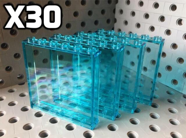 NEW LEGO  PART 60601 TRANS LIGHT BLUE 1 x 2 x 2 FLAT FRONT WINDOW x 4