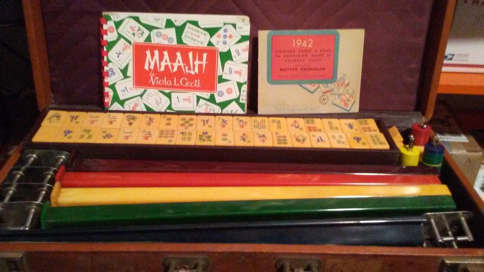 1942 AP GAMES Butterscotch Bakelite Mahjong / MAAJH 149 TILES & PAPERWORK NICE