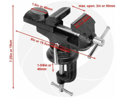 Portable Swivel Base Work Bench Table Top Steel Clamp Vice Vise 2inch 50mm Anvil