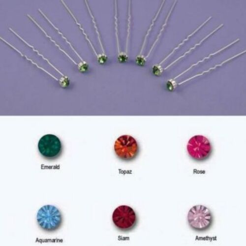 Set of 6 Bridal Coloured Crystal Gold or Silver Tone Hair Pins Jewels Slides