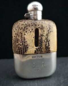 Antique-silver-and-faux-snakeskin-hip-flask-Victorian
