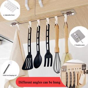 Kitchen-Storage-Rack-Holder-6-Hooks-Self-Adhesive-Firm-Hang-Organiser-Towel-Hook