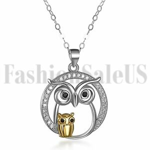 925-Sterling-Silver-Fashion-Women-Girls-Owl-Pendant-Necklace-Chain-Jewelry-Gift