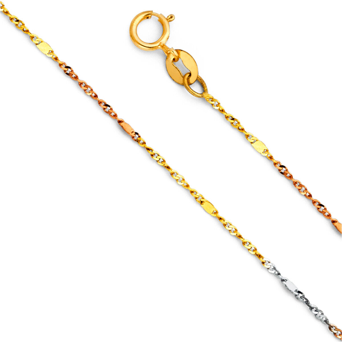 14K Real Tri color gold 1.3mm Singapore with Bar Chain 16''- 22'' for Women