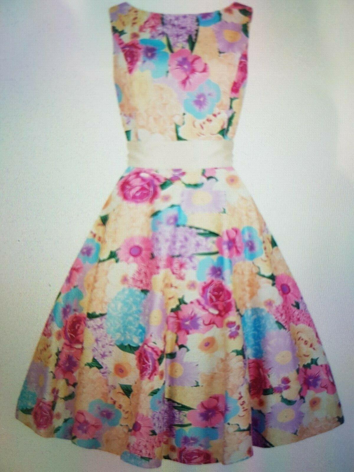 Collectif Clothing, L, 40 42,50s Swing Kleid, Margaret English Garden, Blaumen
