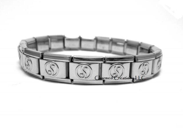 Yin Yang 9mm Italian Charm Shiny Stainless Steel 18 Link Starter Bracelet
