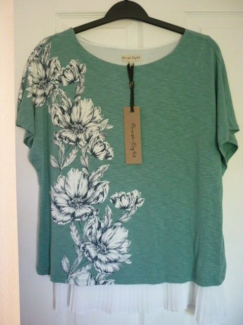 PHASE EIGHT MARRIETA GREEN IVORY LAYERED JERSEY TOP. US 8 BN