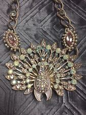 NEW! BETSEY JOHNSON PINKTINA PINK PATINA CRYSTAL PEACOCK STATEMENT NECKLACE