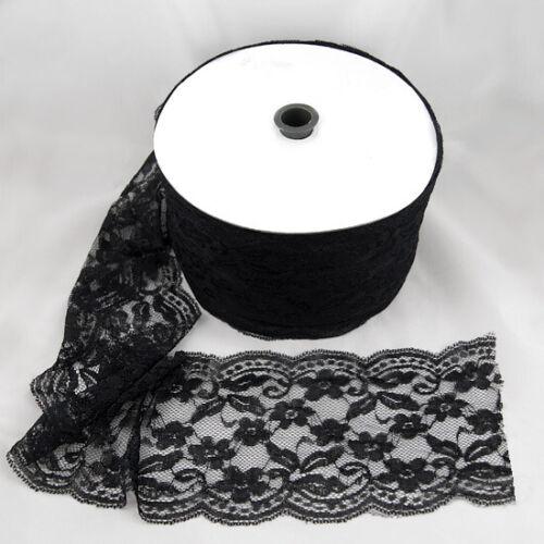elastische Spitze Borte schwarz 16 cm breit Länge 1 m