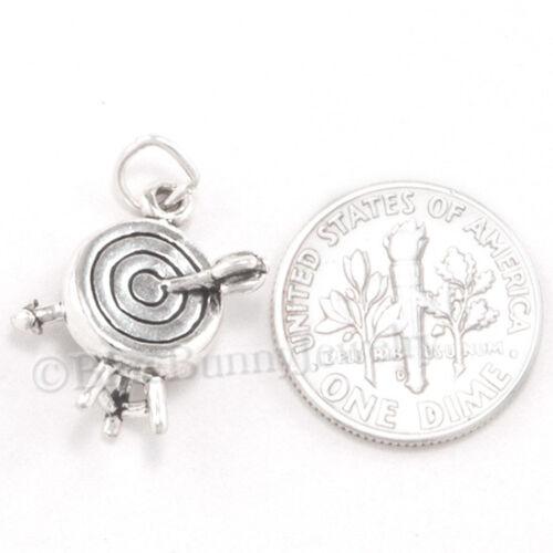 Bow Arrow Charm Tir à l/'arc Pendentif Bijoux Target .925 argent sterling 925