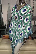 Vintage Hand Knit Crochet Boho Hippie Festival Poncho Cape Shawl Top One Size ��