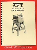 Jet Tools Jpm-13 Planer Molder Instruction & Part Manual 0970