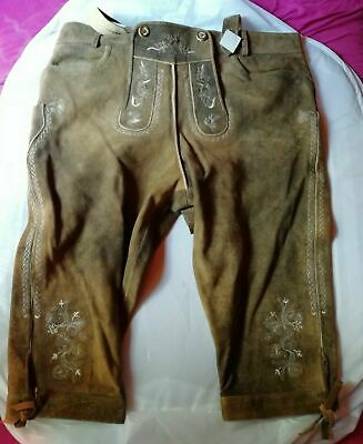 Costume Leather Pants Breeches Leather Trousers Braces WILD GOAT LEATHER EMBROIDERED OKTOBERFEST
