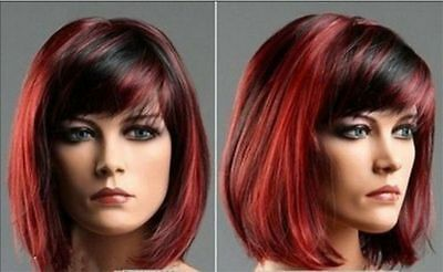 Womens Synthetic short red mixed Ladies Casual Hair Full wigs+Free wig cap