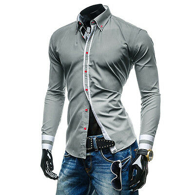 New Fashion Luxury Stylish Casual Men's Slim Fit Dress Shirts Tops Long Sleeve