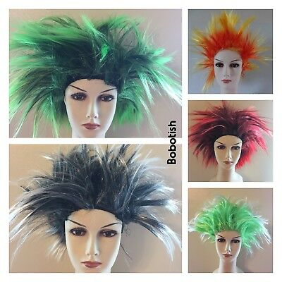 Gehorsam Short Spiky Punk Rocker 80s Wig Women Ladies Multi Coloured Fancy Dress Costume Den Speichel Auffrischen Und Bereichern