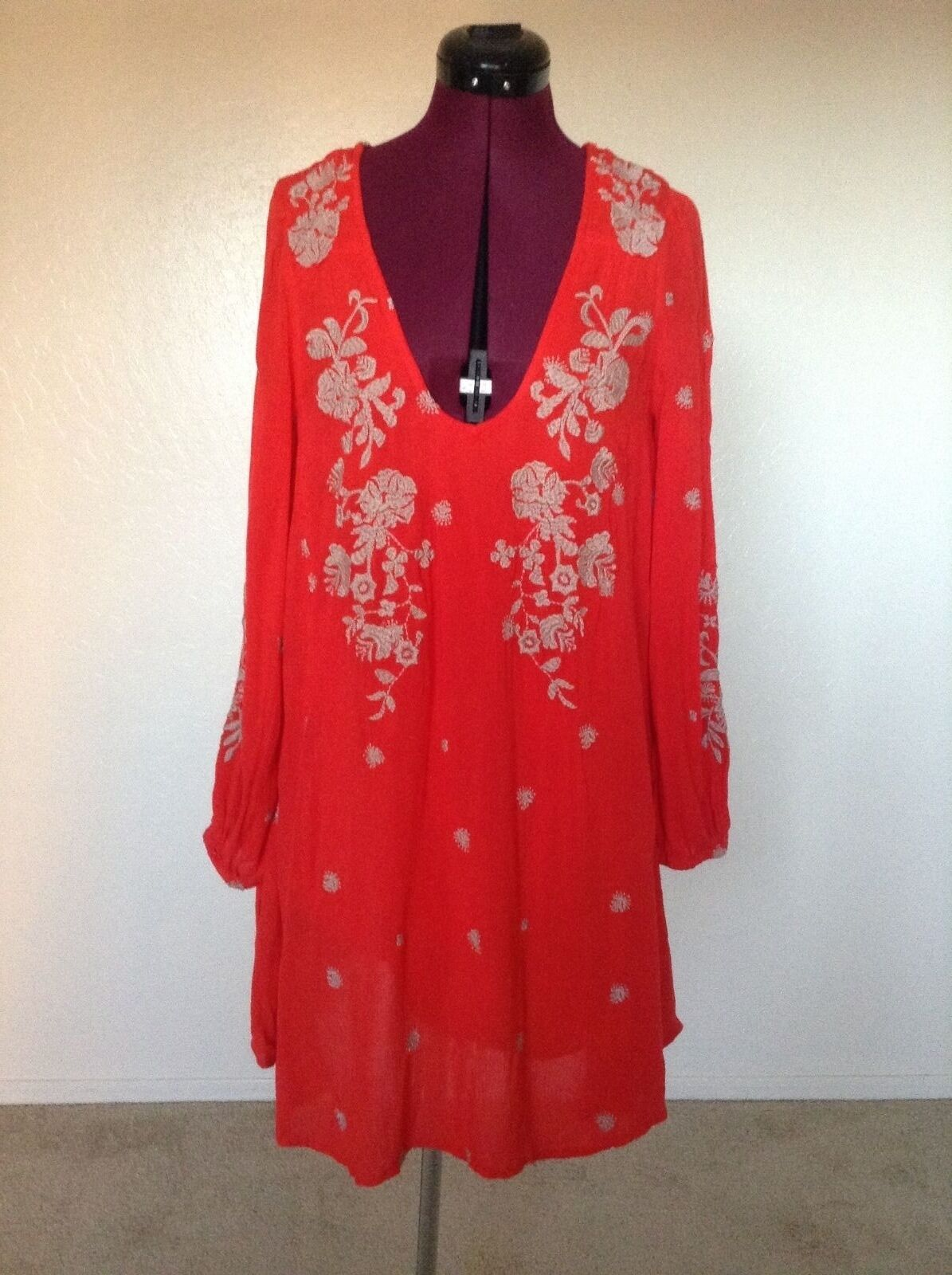 NEW Free People  148 Sweet Tennessee Embroidered Cutout Mini DressS