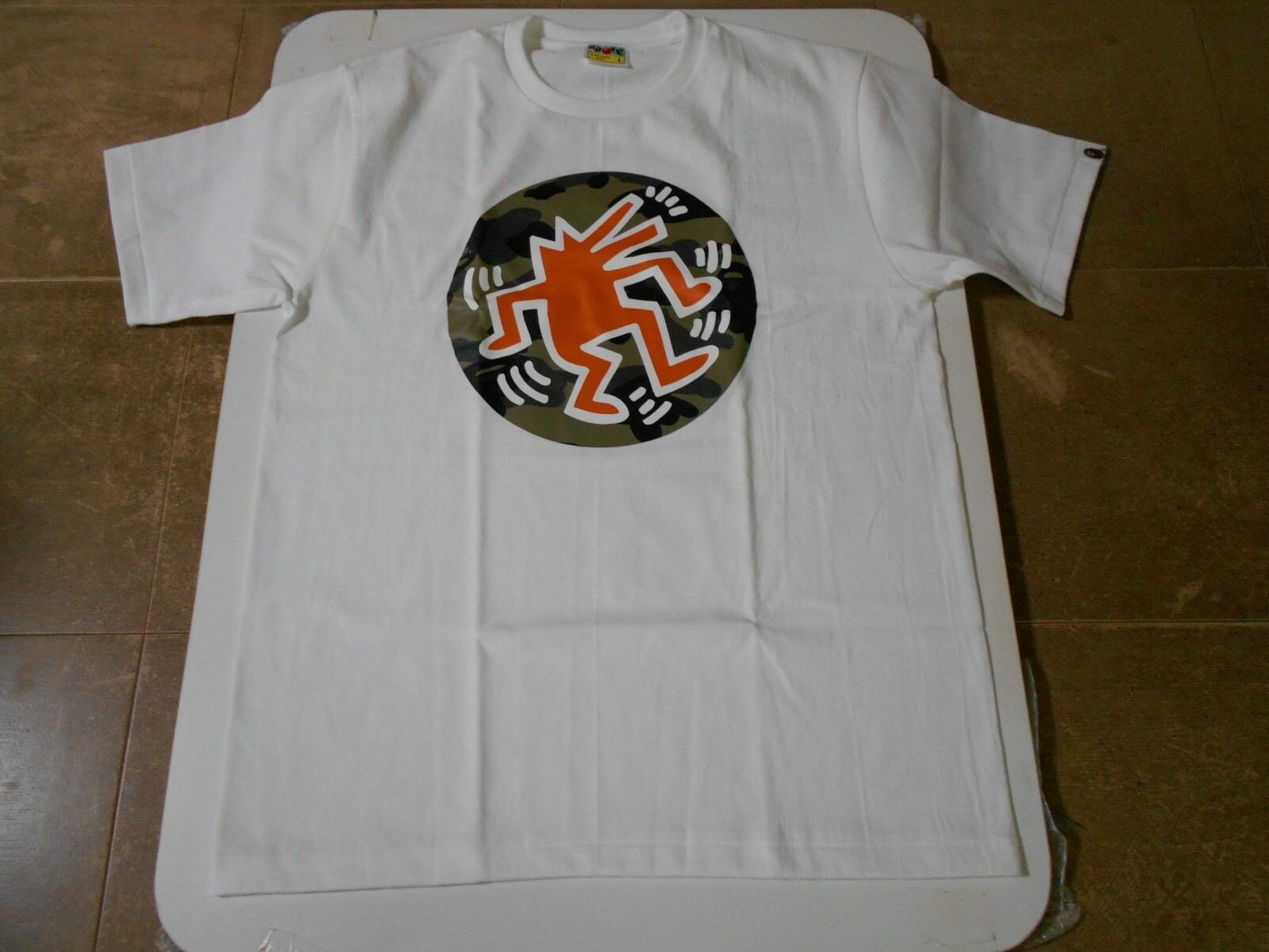 Authentic A Bathing APE BAPE x KEITH HARING TEE T SHIRT WHITE L NEW RARE