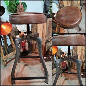 Leder-Antik-Stuhl-Vintage-Handmade-Industrie-Retro