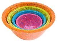 Zak Designs Confetti Mixing Bowls, Assorted Brights Orange, Set Of 4 , New, Free