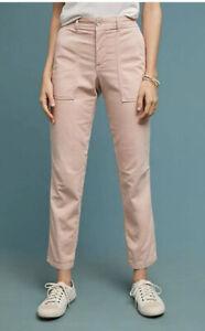 Anthropologie El Vagabundo 30 En Rosa Pantalones Tipo Cargo De Algodon Elastico De Utilidad Ebay
