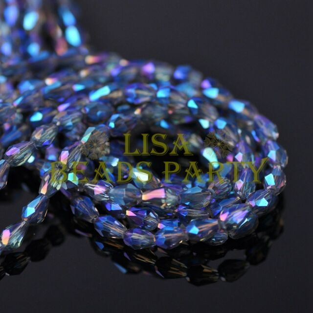New 100pcs 5X3mm Teardrop Crystal Glass Faceted Spacer Loose Bead Blue Colorized
