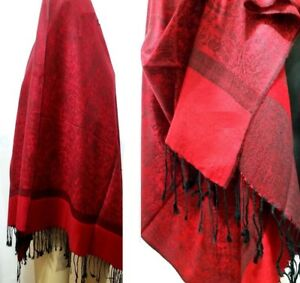 Red-Stylish-Fashion-Floral-Vine-Paisley-Pashmina-Scarf-Shawl-Wrap-Tassel