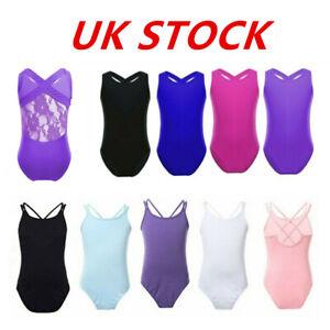 UK-Girls-Ballet-Dance-Dress-Kids-Gymnastics-Lace-Sleeveless-Leotard-Dancewear