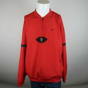 Nike-Red-Quarter-Zip-Vented-Back-Texas-Tech-Red-Raiders-Bomber-Jacket-Mens-XL