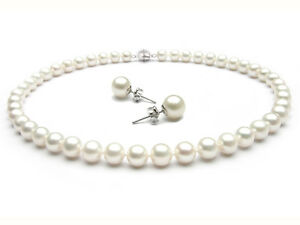 """Pearl Fab 8-9mm Aa Grade White Freshwater Pearl Necklace 18"""" Stud Earrings Set Jewelry & Watches"""