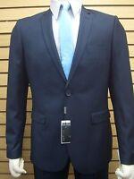 Men's Navy Blue Micro-check 2 Button Slim Fit Suit Size 42l