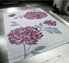 Bloom Light Grey & Mauve Purple Floral Flower Large Soft Touch Rug 160x230cm