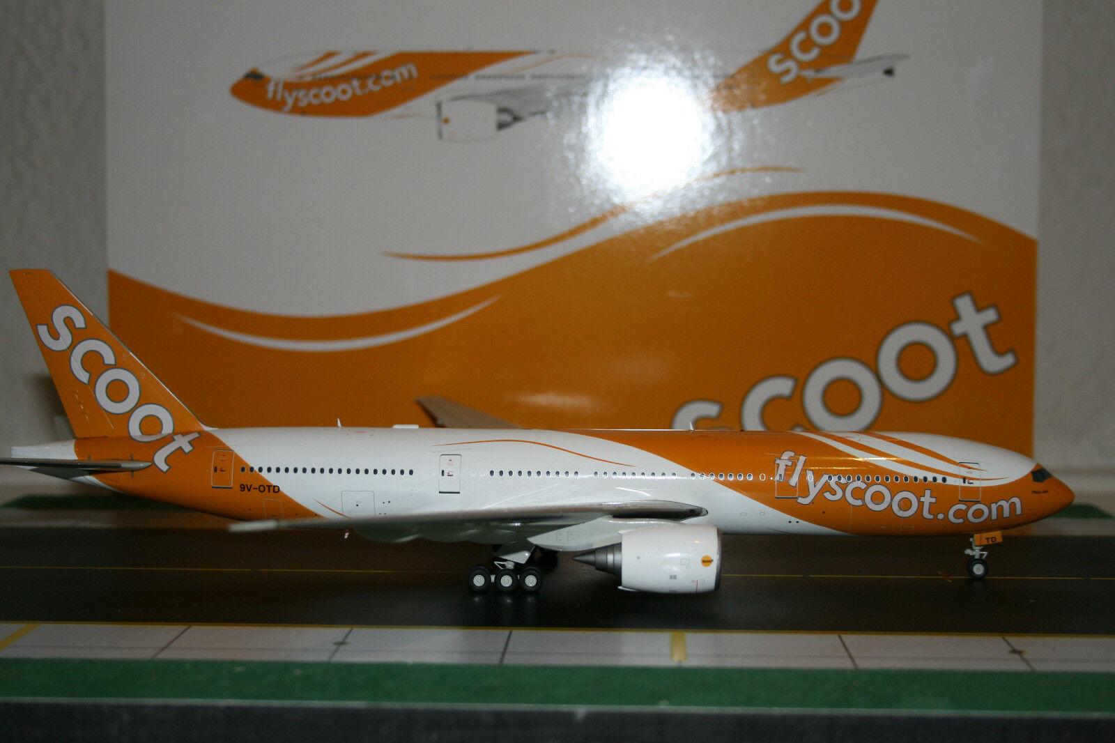 JC Wings 1 200 Scoot Singapore Boeing 777-200 9V-OTD (XX2985) Model Plane