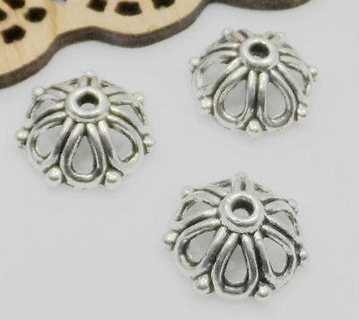 Free Ship 100Pcs Tibetan Silver Flower Beads Caps 10x3.5mm