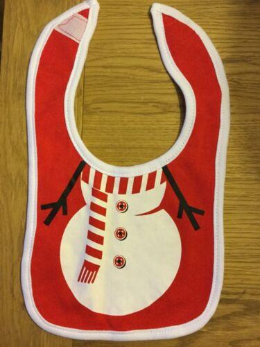 Mignon imprimé Noël Bonhomme de neige Bib par toucher doux (