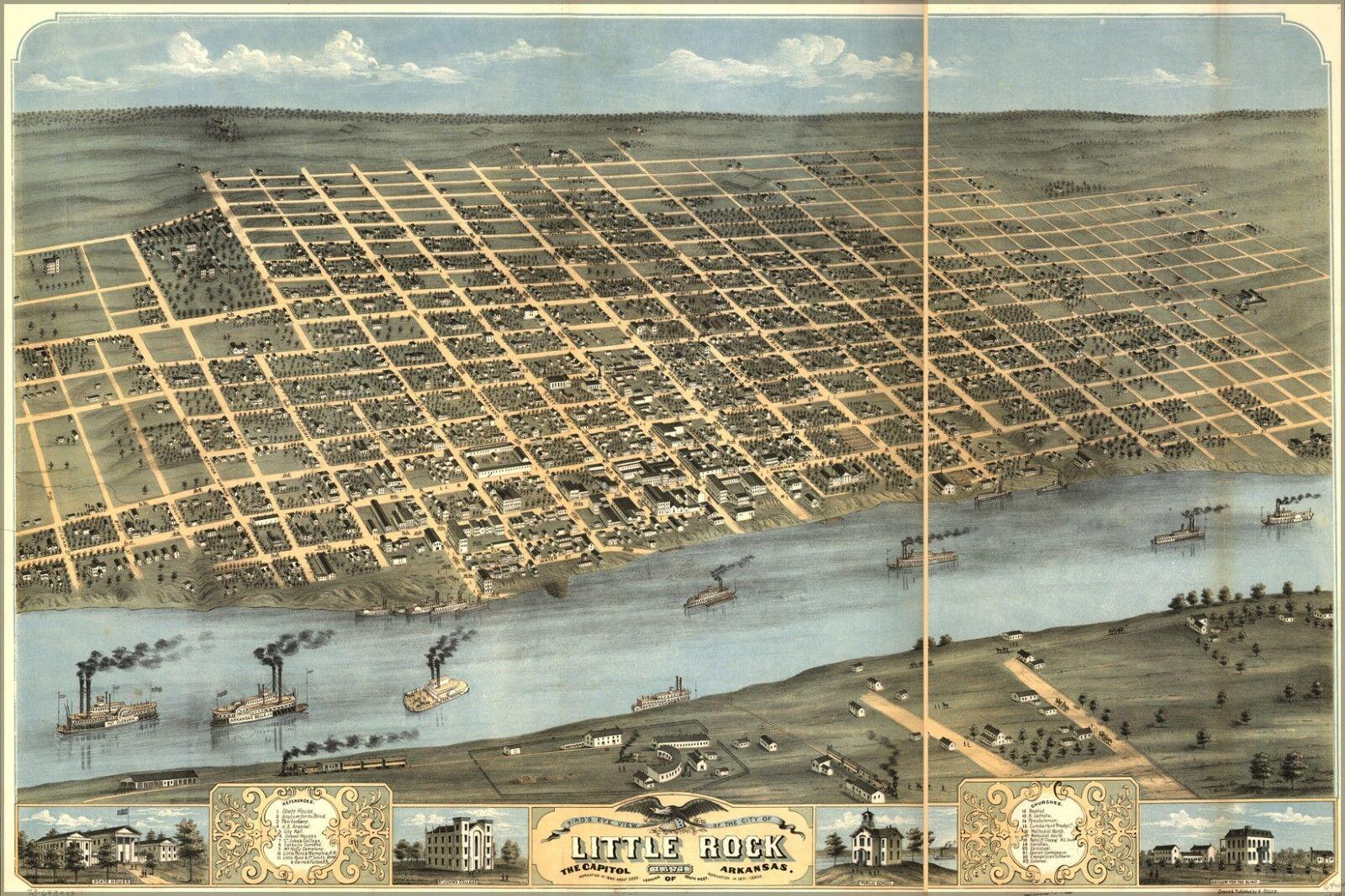 Affiche, Affiche, Affiche, Plusieurs Tailles; Œillée Vue Carte de Little Rock, Arkansas 1871 | Fabrication Habile  | Perpignan  | Emballage Solide  | L'apparence élégante  a88333
