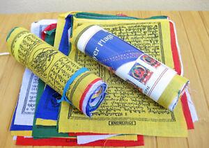 Tibetische Gebetsfahnen 5 m lang 25 bunte Fahnen à 20 x 20 cm original aus Nepal