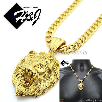 "20/""MEN Stainless Steel 6mm Gold Cuban Curb Link Chain Necklace LION Pendant*GP50"
